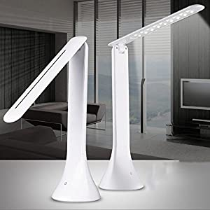 HeQiao Dimmable Eye Care LED Desk Lamp, Portable Desk Reading Lamp for Kids/ Home/ Office/Outdoor, Foldable LED Table Lamp (Energy Saving, Touch Control, Three Levels Brightness, USB Port Charge, 180 Degree Rotation) -White by HeQiao