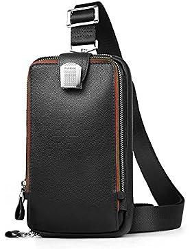 [Gesponsert]Echtleder Herren Sling Rucksack Sling Bag Pack Herren Brusttasche Messenger tasche Umhängetasche aus echtem Leder...