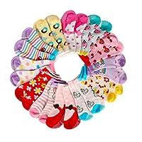 OKPOW 12 Pairs Baby Girl Socks Anti-slip Cotton Sock Set, Warm and Comfortable Baby Socks, 10-24 Months Light Colours Girl Socks