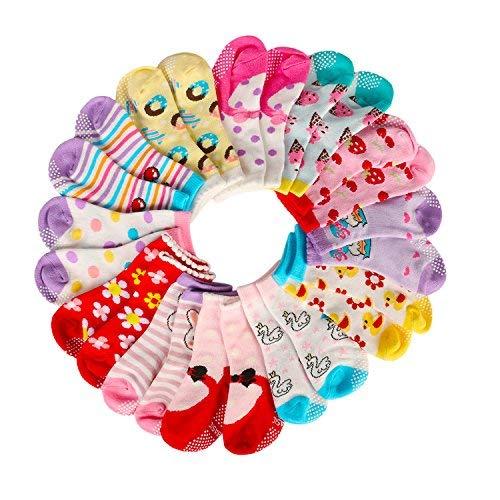 AMILE 12 Paar Baby Mädchen Socken Anti-Rutsch-Baumwolle Sock Set, warme und bequeme Baby Socken, 10-24 Monate Licht Farben Mädchen Socken, 36/40, Pink yellow