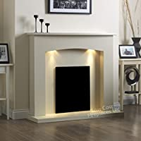 Electric Cream Ivory Modern Wall Freestanding Fire Surround Fireplace Suite Lights Downlights 48""