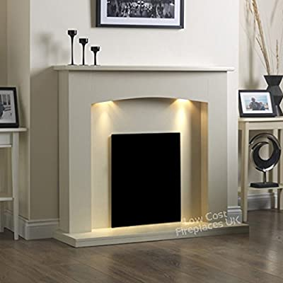 """Electric Cream Ivory Modern Wall Freestanding Fire Surround Fireplace Suite Lights Downlights 48"""""""
