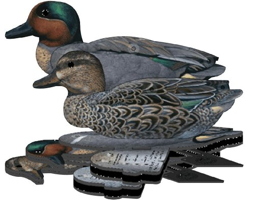FUD Green Wing Teal 3D photo real floating wildfowl decoys - pack of 6