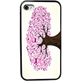 Cáncer de Mama Cinta Diseño del árbol iPhone 4y 4S negro funda (caucho negro con protección de parachoques) para Apple Iphone 4y 4S, diseño de piel de cocodrilo, vender en Zeng caso