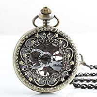 Joielavie Classical Pocket Watch Roman Numeral Hollow Skeleton Engraved Flower Decorative Sub Dial Mechanical Movement Clamshell Alloy Single Chain Watches Gift For Men Women - Bronze