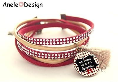Bracelet manchette Cadeau pour Nounou rouge noir - cœur love