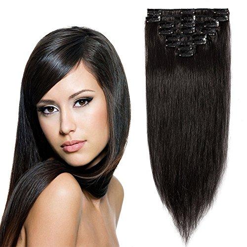 Extension de Cheveux Naturel a Clip 8 Bandes Raide - 100% Remy Human Hair Grade 7A - #1B NOIR NATUREL - 40CM 65G
