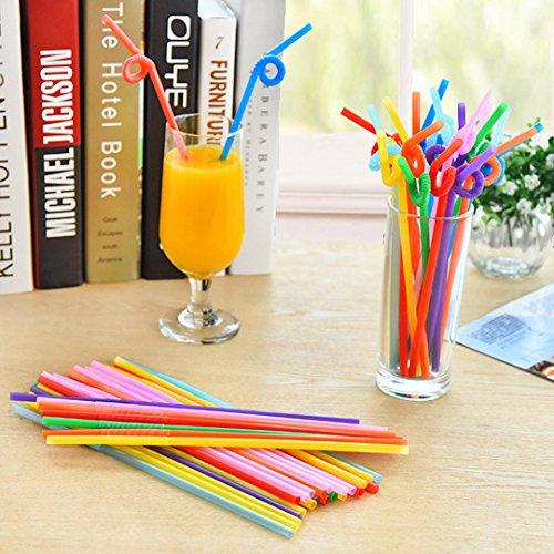 EQLEF® 50 Pezzi di plastica a gettare Cannuccia & Fruit Juice Straw & curvo Straw venditore