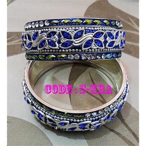 Matrimonio indiano Fancy asiatico con cristalli nozze gioielli partito usura royal blu braccialetto Kada saree etnica kundan bollywood costume colore dimensioni Tyagi Craft, blu - Fancy Gioiello