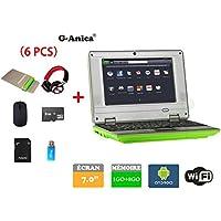 G-Anica® Netbook Ordenador portátil Android 4.4.2 (WIFI, 1.5GHz 1GB de RAM, 8GB de disco duro),Bolsa de ordenador portátil+Ratón+Adaptar+Tarjeta SD+Lector de tarjetas+Auriculares(6 PCS Accesorios) (7 pulgadas, Verde)