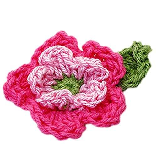 JER 10Stk handgemachte Häkelarbeit Blumen Patches Multi Usage Sammlung Nähen Petals für Applikationen Schmuck Rosa und Grün ArtSupplies