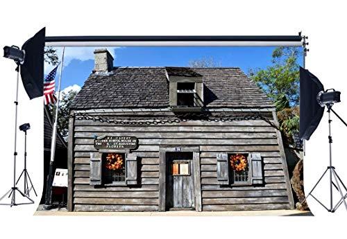 EdCott West Cowboy Backdrop 9X6FT Vinyl Das älteste hölzerne Schulhaus USA Kulissen Amerikanische Flagge Shabby Wood Plank Fotografie Hintergrund Jungen Mädchen Zurück zu Schule QB57 -