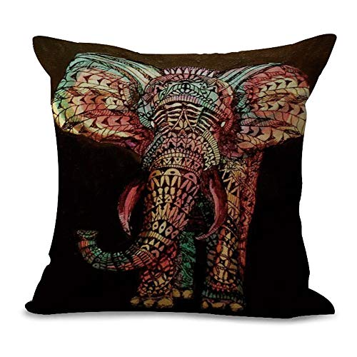 JUNMAONO Fundas de Cojin Fundas de Almohada Cuadrada Decoración del Hogar Pillow Cover Pintura de Elefante Imprimiendo Pillowcase para Sofá Cama Sillas Dormitorio Coche 45cm x 45cm/18' x 18' (B)