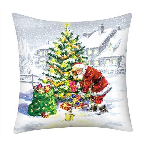 Fenverk Weihnachten Festival Kissenbezug Polster Abdeckung Dekor Zuhause Sofa Bett Quadrat Werfen Sofs Drucken Polyester Auto(G)