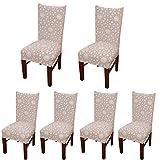Set di 6 morbide fodere copri-sedia protettive corte, elasticizzate, in elastam, per sedie da sala da pranzo, con motivo stampato, ideali per feste, hotel o cerimonie nuziali Posate da pasto B