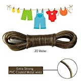 #8: AllExtreme 20 meter PVC Coated Steel Anti-Rust Wire Rope Washing Line Clothesline with 2 Plastic Hooks(Grey)