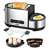 Aicok Toaster, 3 in 1 praktischer Automatik Toaster mit Eierkocher und elektrischee Pfannen, (1250 Watt, bis zu 7 Bräunungsstufen und 2 Brotscheiben, gebürsteter Edelstahl) - 2