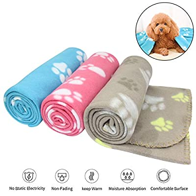 AK KYC 3 pack 40 x 28 '' Puppy Blanket Cushion Dog Cat Fleece Blankets Pet Sleep Mat Pad Bed Cover with Paw Print Kitten Soft Warm Blanket for Animals by AK KYC