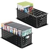 mDesign la boîte de rangement pour cd – le panier de rangement idéal pour vos CDs, DVDs, Blurays, consoles, etc. – pratique bac de rangement pour – couleur : noir - Paquet de 2