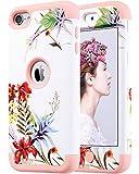 ULAK Coque iPod 5, iPod Touch 6 Coque 3in1 Hybride Antichoc en Silicone Housse Étui de Protection pour Apple iPod Touch 5 6 Génération (F-Fleur Lavande + Rose)