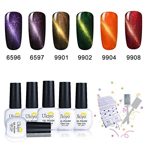 Ukiyo 6PCS Soak Off kit smalto semipermanente Remover Wraps L'occhio del gatto + magnete 8ml UV LED Smalto semipermanente unghie in Gel gel polish Nail Art set