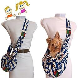 Bolso para perro pequeño. Estampado MARINERO. Para Chiguagua, Bichon, Yorkshire, etc. hasta 3 Kgr. Muy cómodo para ellos y para ti. Lavable en lavadora. Exclusivo y patentado.