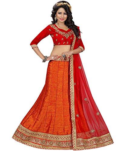 Indian Ethnicwear Bollywood Pakistani Wedding Orange A-Line Lehenga Semi-stitched-MAL53736