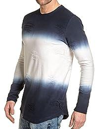 Gov Denim - T-shirt homme épais navy effet déchiré manches longues