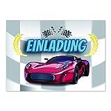 16 Einladungskarten Kindergeburtstag - Auto / Kart fahren / Rennen - für Kinder, Jungen, Jungs und Mädchen / Geburtstagseinladungen im Set