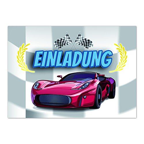 Kindergeburtstag - Auto / Kart fahren / Rennen - für Kinder, Jungen, Jungs und Mädchen / Geburtstagseinladungen im Set (Rennen-auto-einladungen)