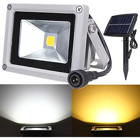 Bluelover 10W Solar Power LED Flood luce impermeabile all'aperto paesaggio Spotleggero-bianco