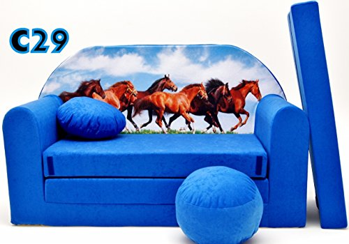C29 divano divano bambini mini divano richiudibile divano letto 3-in-1 set con + poltrona per bambini e cuscino per sedia + materasso