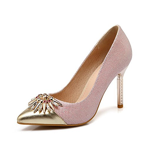 Odomolor Femme Pure Brillant Tissu Stiletto Chaussures À Talons Pointu Fermé Toe Pull Rose Ballerines