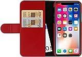 StilGut Talis Case con Tasca per Carte, Custodia in Pelle Cover per Apple iPhone X & XS. Chiusura a Libro Flip-Case in Vera Pelle Fatta a Mano, pratiche Tasche per Carte di Credito, Rosso Nappa