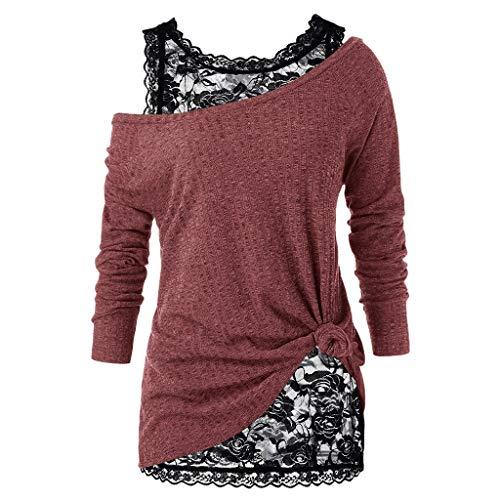 DQANIU Zweiteiler Damen Plus Size Langarm Spitzen Bluse Pullover Solide Trägerlos Verknotet Tops Shirt