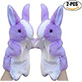 Rabbit Plush Puppet, Coxeer 2Pcs Animal Toys Cute Rabbit Hand Puppets Easter Bunny Toys For Kids