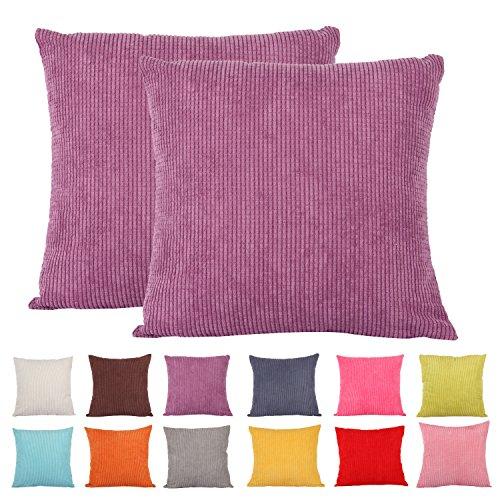 comoco® -2pcs Farbe Klein Mais gestreift Cord Deko Kissen Bezug für Sofa erhältlich in 15Farben und 7Größen, violett, 65x65cm