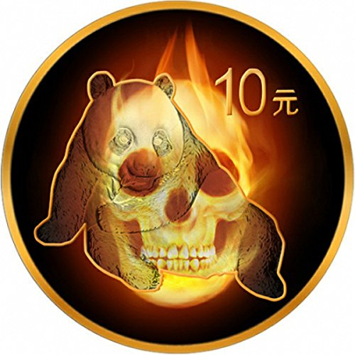 Power Coin Burning Panda Skull Fire Black Ruthenium Gold 1 Oz Silber Münze 10 Yuan China 2015 -