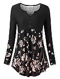 BaiShengGT Damen Langarmshirt Casual Stretch Tunika Falten Langarm T-Shirt Schwarz-Blumen Medium