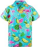 King Kameha Funky Camicia Hawaiana, Flamingo Melone, Turchese, L