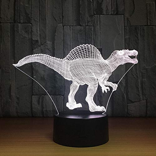 Francese Day Deal Dinosaur Led Lampada Usb 3D Lampada 7 colori Touch Sensor Lights Atmosfera Decorazione Illuminazione Novità Regali Camera da letto, Compleanno, Presente