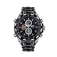 Globenfeld Sport Shark Grey Mens Sports Watch - Jet Black 3-Function Analog/Digital Display with Stopwatch and Tachymeter - Water Resistant to 30M - Platinum 5 Year Warranty (Black)