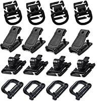YCNK 16Pcs Tactical Bag Accessories for MOLLE Webbing Attachment Backpacks Including D-Ring Grimloc Locking / Buckle Clip / Hydration Tube Clip / D-Ring Clip for Outdoor Molle Backpack