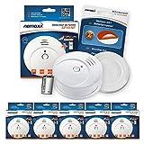 Nemaxx 5x SP10-NF Rauchmelder - langlebiger Rauchwarnmelder mit 9 V Lithiumbatterie - Feuermelder nach DIN EN 14604 und NF Zertifikat geprüft - weiß + NX1 Befestigungspad