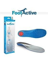 FootActive NATURE PLUS, talla 36 - 38 (XS) una suela de soporte con arco de longitud normal con cubierta de piel superior para aliviar los dolores del talón y la Fascitis plantar.