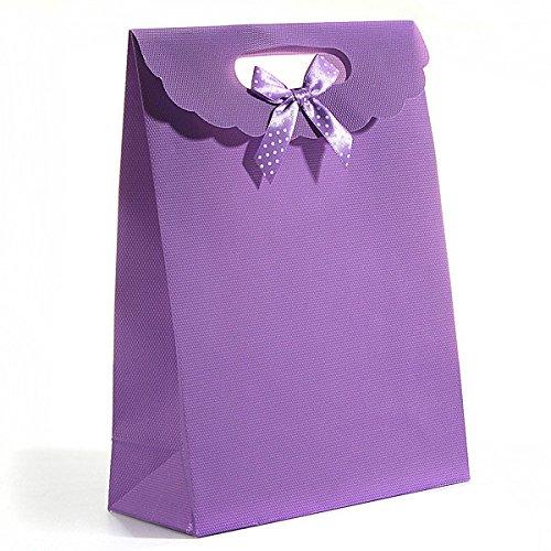 �ßigkeiten Geschenk Taschen Bowknot Kunststoff Flip Verpackung Tasche Klein Geschenk Hand Tasche Hochzeit Urlaub Weihnachten Süßigkeit Tasche Wasserdicht Paket Taschen (Lila) (Kunststoff-weihnachten-taschen)