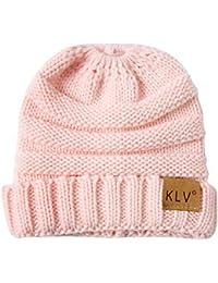 Beanie Strickmütze Damen Mütze Winter mit Loch für Pferdeschwanz Herren Wintermütze Jersey Hut Wollmütze XXYsm