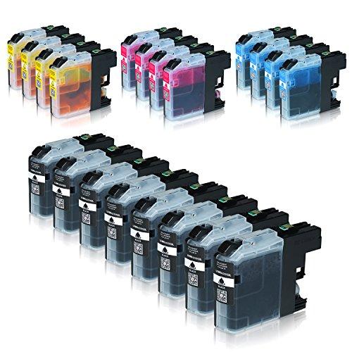 14 Tintenpatronen (Logic-Seek 20 Tintenpatronen kompatibel für Brother LC-123 LC123 LC-121 LC-127 LC-125 XL für Brother MFC-J470DW MFC-J870DW DCP-J552DW - Schwarz je 20ml, Color je 14ml mit Chip)