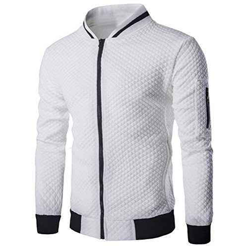 Männer Plaid Strickjacke CLOOM leichte herrenjacken Zipper Sweatshirt Tops Outwear Sport herrenoberbekleidung Herbst übergangsjacke jung herren mantel slim fit business windbreaker (S, - Weiße Mit Lederjacke Kapuze