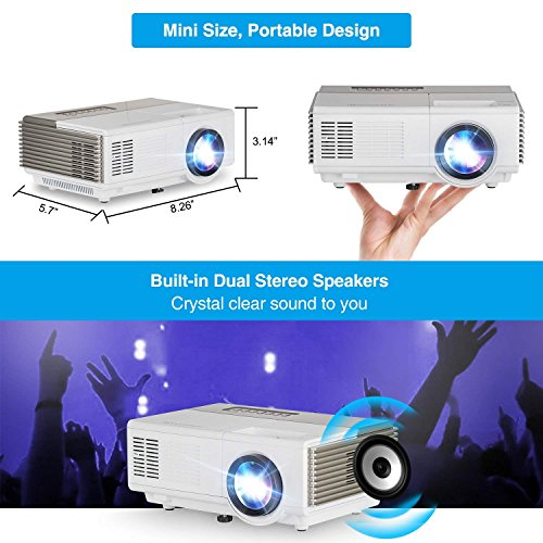 CAIWEI Mini LED Projector Portable Max 1080p Support 1500 Lumen Multimedia LCD Projectors Home Theater Cinema for Games  Outdoor Movies Parties 50000hrs lamp-life